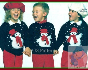 PDF Knitting pattern for a Childs Festive Christmas Snowman Sweater - Instant Download