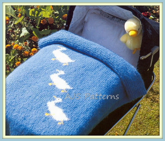 Knitted Pram Blanket Patterns : PDF Knitting Pattern Pram Blanket in a Lovely Duckling