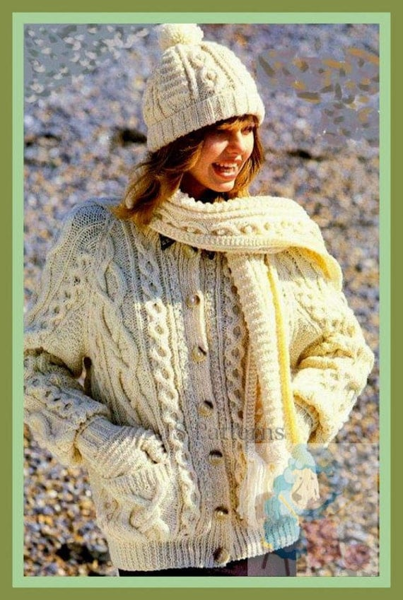 Pdf Knitting Pattern For Ladies Classic Aran Cardigan And A