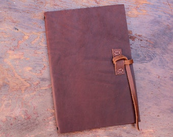 Large Moleskine Leather Notebook Cover - 13x21 cm - Build Your Own Choosing Straps & Pockets- COVER ONLY