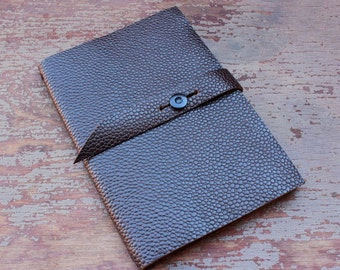 9x14 cm Embossed Leather Moleskine Cover  (pocket size) with a Strap-- Pebble Style-- COVER ONLY