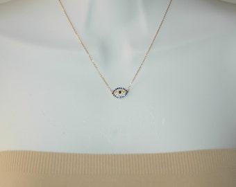 Evil Eye, Gold and CZ evil eye, Good Luck charm, Evil eye pendant/necklace, Gift for her