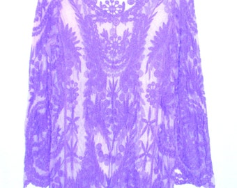 Pale Lavander Marie Antoinette Embroidered Lace Dress Sml or Med  Hand Painted FREE US SHIPPING