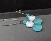 Long Blue Drop Earrings:  Ocean Blue Sea Glass White Sparkle Paisley Dangle Earrings, Beach Wedding Jewelry, Winter Accessory