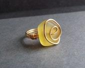Yellow Sea Glass Ring:  24K Gold Swirl Wire Wrapped Lemon Beach Jewelry, Size 6