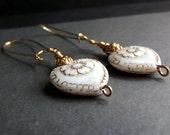 White and Gold Heart Earrings:  Pressed Floral Glass Dangle Earrings, Vintage Rose Drop Earrings, Winter Wedding Jewelry