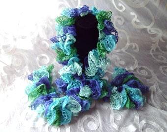 Boa Scarf Ruffled Dark Blue Emerald Green Light Green Turquoise