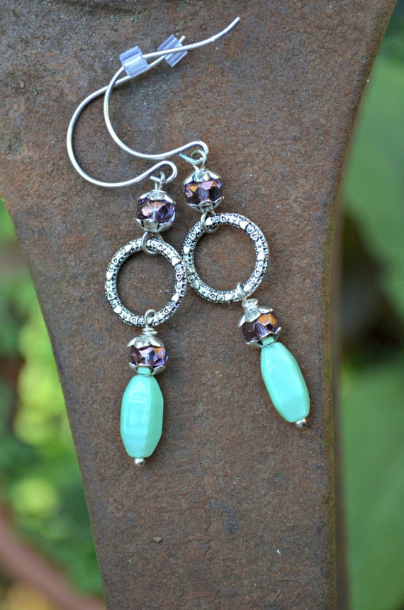 Silver Dangle Earrings with Teal Green and Purple Accents handmade long dangle earrings