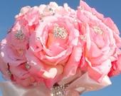 Pure Diamond Rhinestone Bridal Bouquet ........Free personalized bling vase/bouquet holder