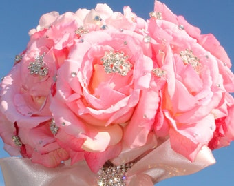 Pure Diamond Rhinestone Bridal Bouquet ........Free personalized bling vase/bouquet holder