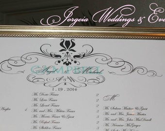 Framed wedding Seating Chart........24'' by 36'