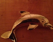 SALE Vintage gold dolphin pin brooch - Free shipping to US!