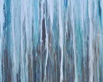 Sale! Painting abstract art, Beach art in aqua, turquoise, charcoal, espresso, Large modern painting, abstract art, contemporary art