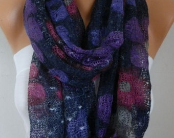 Floral Knitted Scarf  Cowl  Scarf - Multicolor -Gift Ideas For Her  Women's Fashion Accessories
