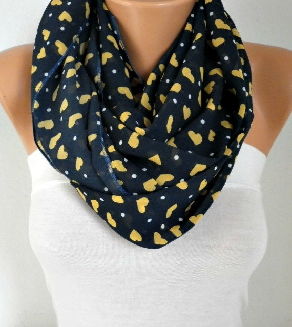 Mothers Day Gift Heart Infinity Scarf Spring Chiffon by fatwoman Fashion Scarf Mother's Love
