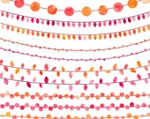 String Lights Watercolor Clipart, Digital Instant Download, Wedding Invitation Clip Art, Orange and Pink, Commercial Use