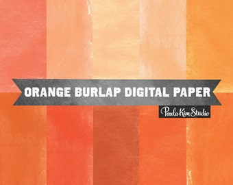80% OFF SALE Orange Digital Papers Burlap Texture Digital Background Royalty Free Clip Art