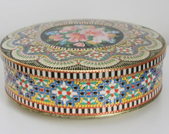 Round Tin - Vintage Embossed Daher Tin Made in England - Antique Round Collectible Floral Tin - Colorful Dotted Tin