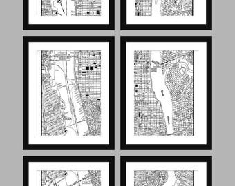 "New York City Map Manhattan Map - 6 8"" x 10"" Prints - Print Poster"