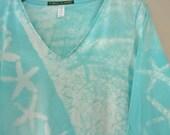 ladies Medium turquoise starfish 3/4 sleeve v neck mono print ooak