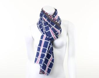 Silk Wool- Plaid- Checks- Navy Blue and White- Neon Pink- fluorescent