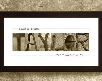 WEDDING GIFT PERSONALIZED - Wedding Gift for Couples, Alphabet Photography, Wall Decor
