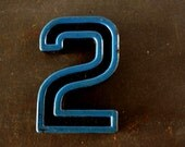 "Vintage Industrial Number ""2"" Black with Blue and Orange Paint, 2"" tall (c.1940s) - Monogram Display, Shadow Box Number, Art"