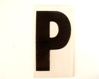 "Vintage Industrial Marquee Sign Letter ""P"", Black on Clear Thick Acrylic (7 inches tall) - Industrial Decor, Altered Art Assemblage Supply"