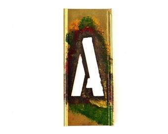 "Vintage Brass Stencil Letter ""A"" Reese's Interlocking Stencils, 4"" tall (c.1950s) - Monogram Display, Shadow Box Letter, Art Supply"