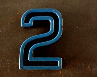 "Vintage Industrial Number ""2"" Black with Blue and Orange Paint, 2"" tall (c.1940s) - Monogram Display, Shadow Box Number, Art"