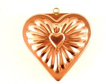 Vintage Aluminum Heart Shaped Jello Mold in Dark Pink Copper (c.1970s) - Valentine's Day Decor, Valentine's Day Gift Basket, Jello Mold