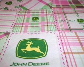 John Deere Pink Plaid Fabric By The Fat Quarter New BTFQ