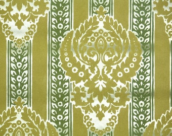 Retro Flock Wallpaper by the Yard 70s Vintage Flock Wallpaper - 1970s Chartreuse and Green Damask Flock Stripes