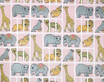 Retro Wallpaper by the Yard 70s Vintage Wallpaper - 1970s Gray and Yellow Zoo Animals on Pink with Elephants Hippos Giraffes Lions Tigers