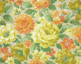 Retro Wallpaper by the Yard 70s Vintage Wallpaper - 1970s Orange and Yellow Floral