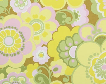 Retro Wallpaper by the Yard 70s Vintage Wallpaper - 1970s Yellow Pink and Green Mod Floral with Large Flowers