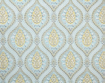 Retro Wallpaper by the Yard 60s Vintage Wallpaper - 1960s Blue Gray and Yellow Modern Damask