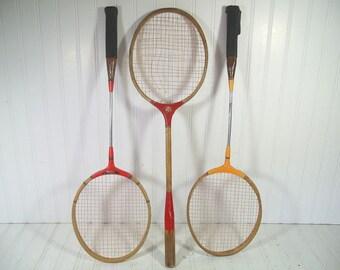 Retro Wooden Badminton Rackets Trio - Vintage Mid Century OutDoor Sports 3 Pieces Set - Repurpose Gameroom Decor - 3 Rackets Collection