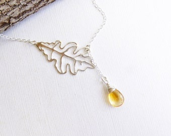 Sterling Silver Oak Leaf Birthstone Lariat Necklace  -- You Choose the Stone... Citrine Shown