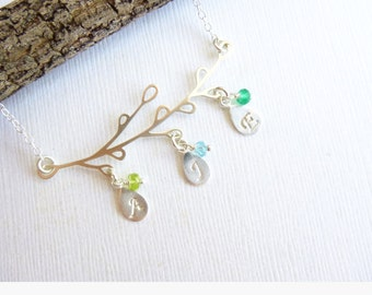 Solid Sterling Silver Family Tree Necklace... Personalized Initials and Birthstones