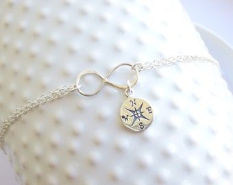 Sterling Silver Infinity Compass Bracelet... Friendship... Love