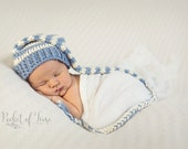 Newborn - 3 Months Cotton Pixie Hat, Elf Hat, Santa Hat in Light Blue and Ivory Stripes....Thin Stripes....GREAT PHOTO PROP
