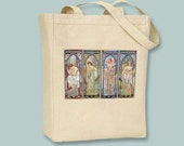 Alphonse Mucha, Times of the Day, Natural or Black Canvas Tote - Selection of sizes available