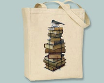 Adorable Vintage Bird on Stacked Books Canvas Tote  - Selection of sizes available