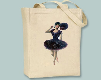 Lovely Ballerina in Plum Illustration transferred onto Canvas Tote -- Selection of  sizes available