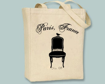 Paris France Ornate Chair and Bird No. 5 Tote - Selection of sizes and image in ANY COLOR available