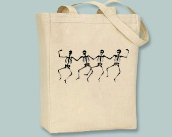 Dancing Skeletons on Canvas Tote  - Selection of  sizes and image colors available