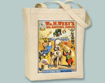 Vintage W.H. West's Big Minstrel Jubilee  Circus Poster  Canvas Tote -- Selection of sizes available
