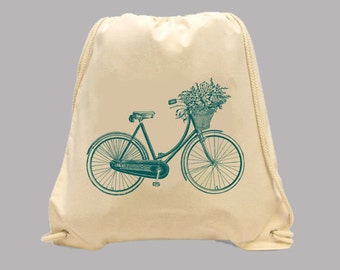 Lovely Vintage Bicycle with Flower Basket Illustration Simple Canvas BACKPACK  -- Image in ANY COLOR