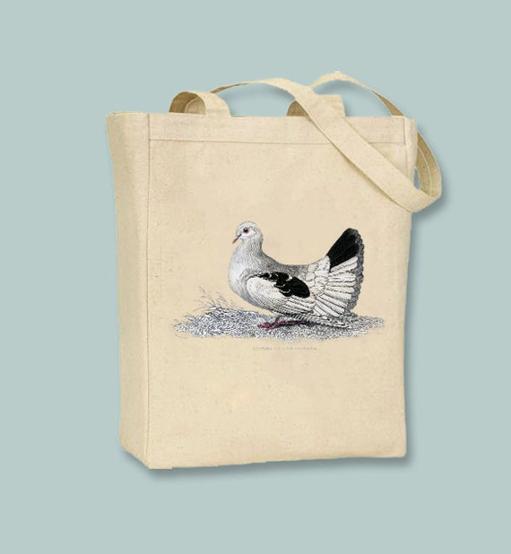 Vintage Turtle Dove illustration on Canvas Tote with shoulder strap - Selection of sizes available